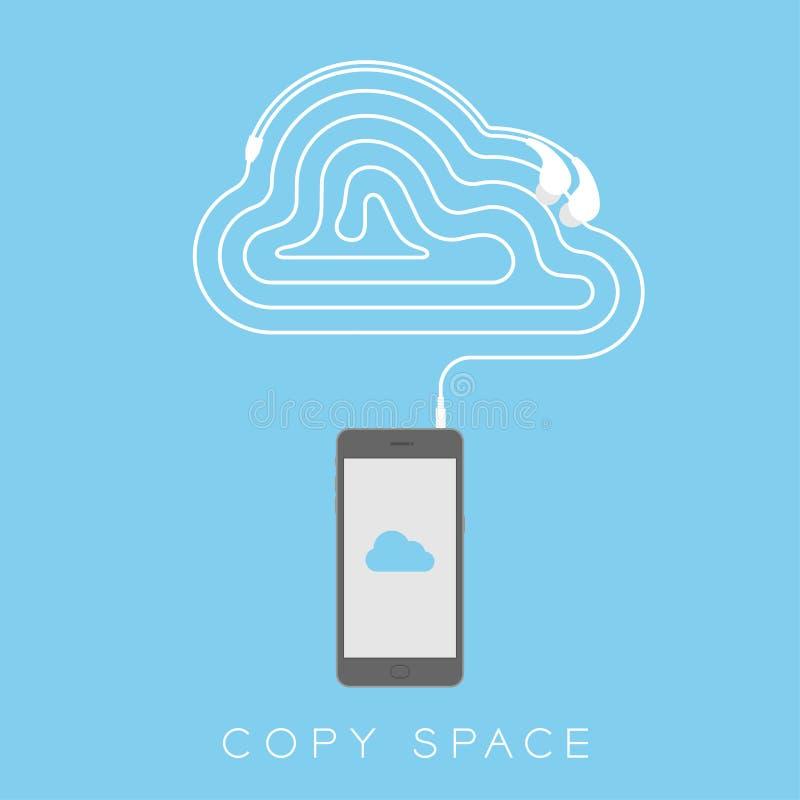 Maakten het zwarte de kleuren vlakke ontwerp van Smartphone, de het symbool blauwe kleur van het wolkenpictogram op het scherm en stock illustratie
