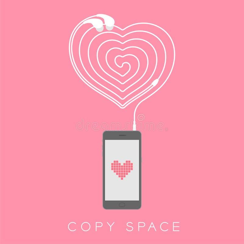 Maakten het zwarte de kleuren vlakke ontwerp van Smartphone, de het symbool roze kleur van het hartpictogram op het scherm en de  royalty-vrije illustratie