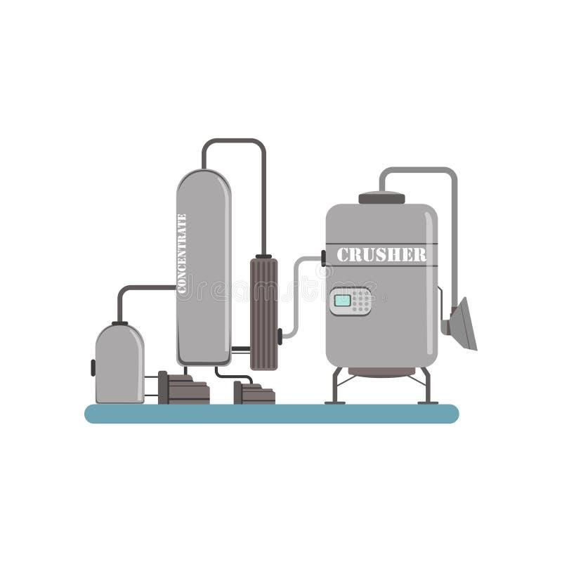 Maalmachine en concentraat, materiaal voor de vectorillustratie van de sapproductie op een witte achtergrond vector illustratie