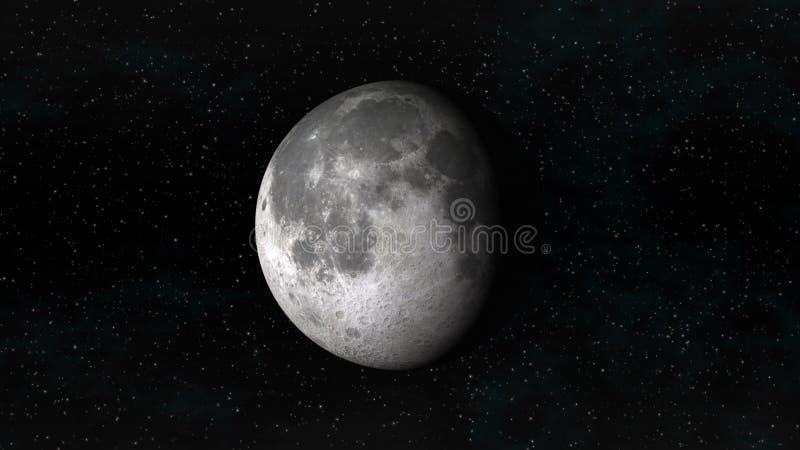 Maan in afnemende gibbous fase op een achtergrond van sterren vector illustratie