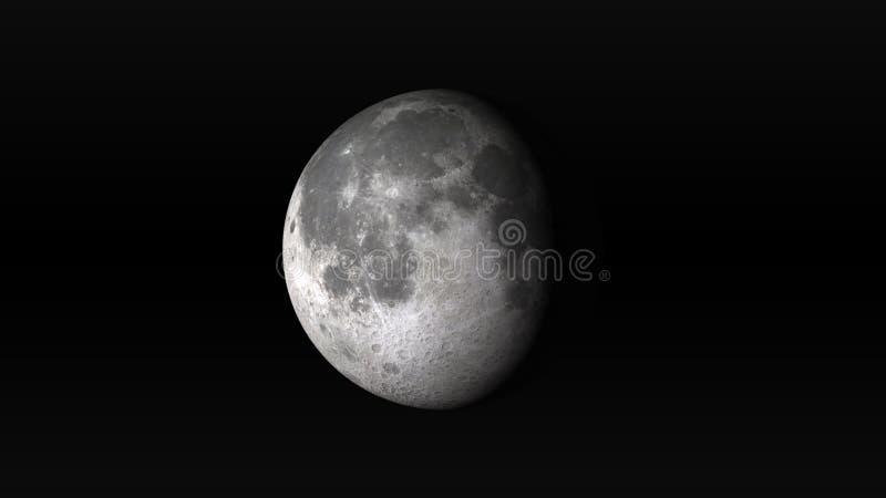 Maan in afnemende gibbous fase op een zwarte achtergrond stock illustratie