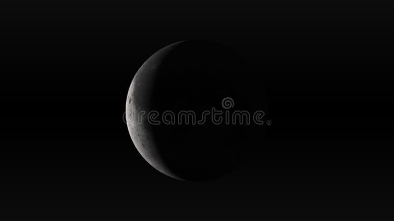 Maan in afnemende toenemende fase op een zwarte achtergrond stock illustratie