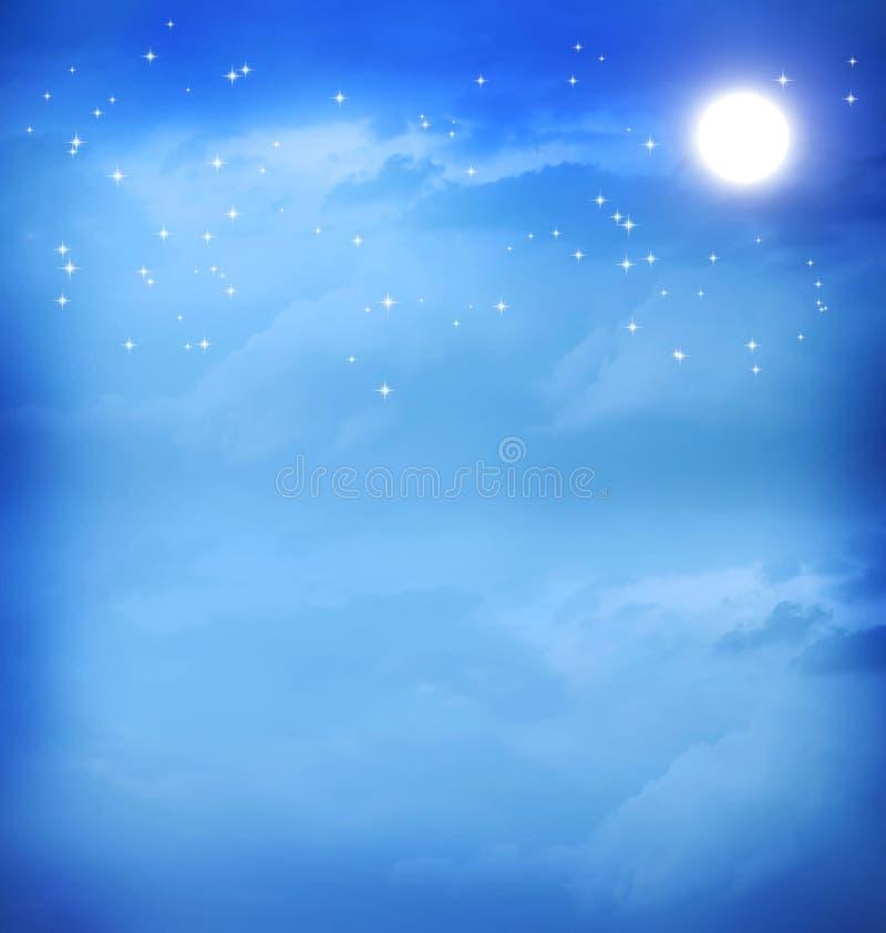 Maan in de blauwe nachthemel royalty-vrije illustratie