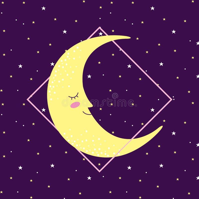 Maan die op ruimte met sterren glimlacht royalty-vrije illustratie