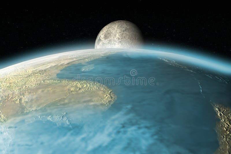 Maan die over Aardehorizon toenemen vector illustratie