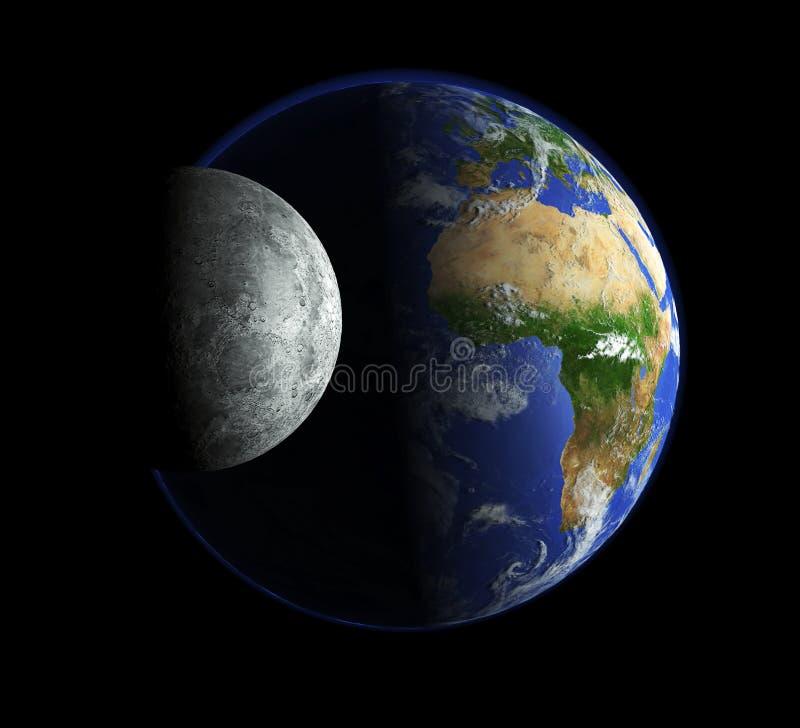 Maan en aarde vector illustratie