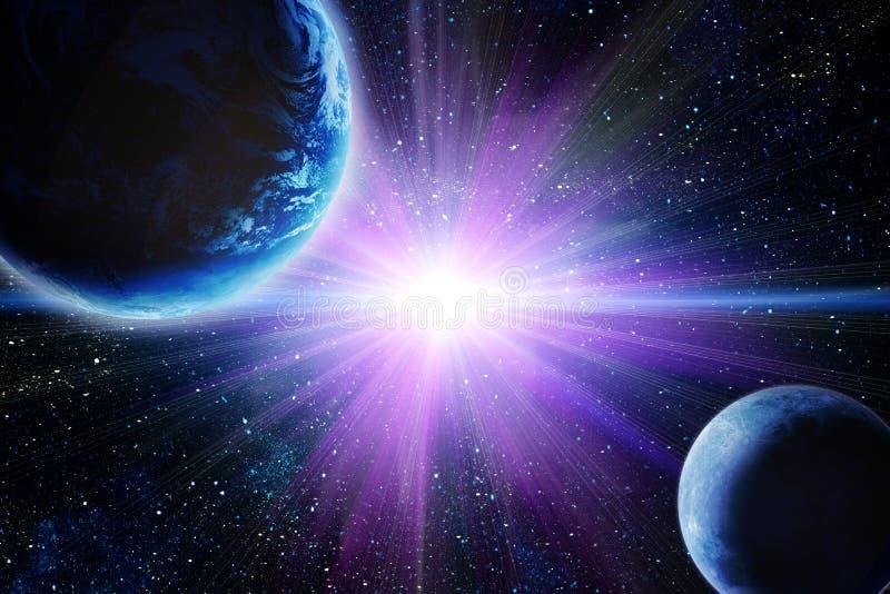 Maan en aarde in ruimte stock afbeelding