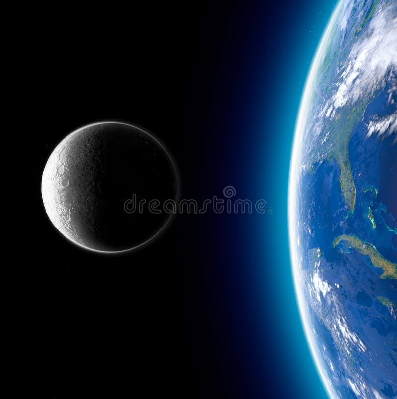 Maan en aarde van ruimte wordt gezien die Maanoppervlakte en aarde op de achtergrond De aarde van de maan wordt gezien die 50 gou vector illustratie