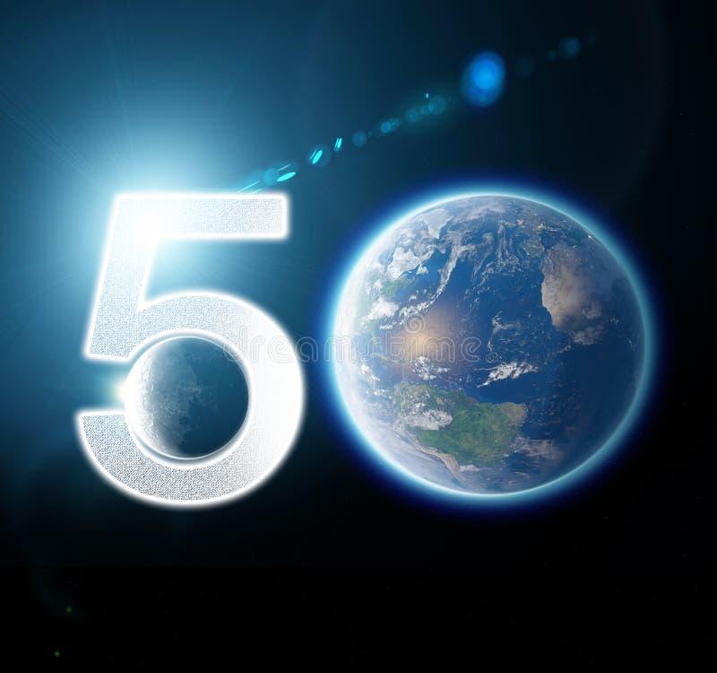 Maan en aarde van ruimte wordt gezien die Maanoppervlakte en aarde op de achtergrond 50ste verjaardag van het maan landen stock illustratie