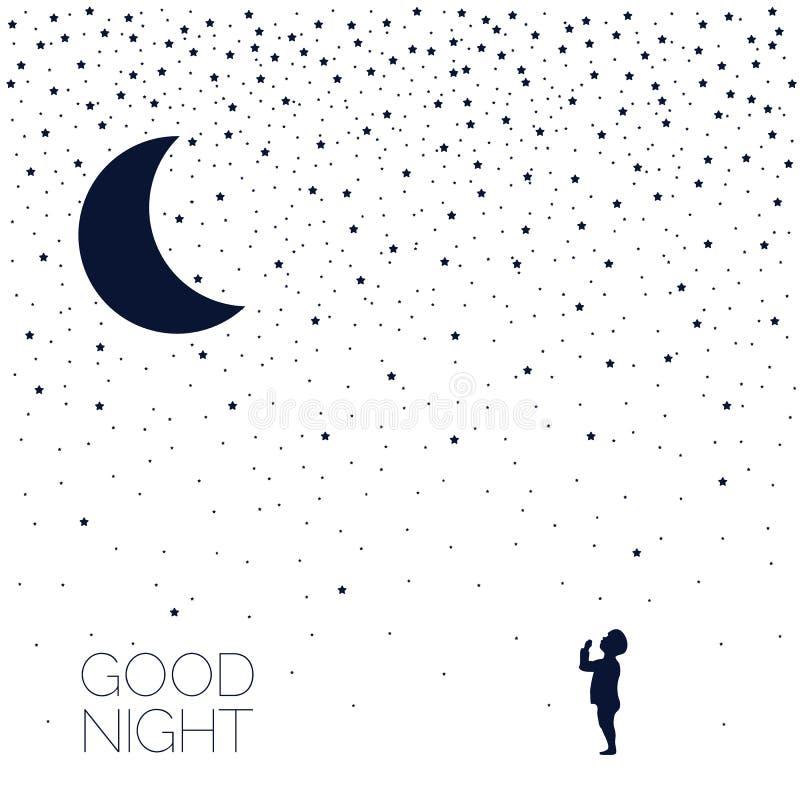 Maan en dromende baby Goede nacht Elektronisch geld royalty-vrije illustratie