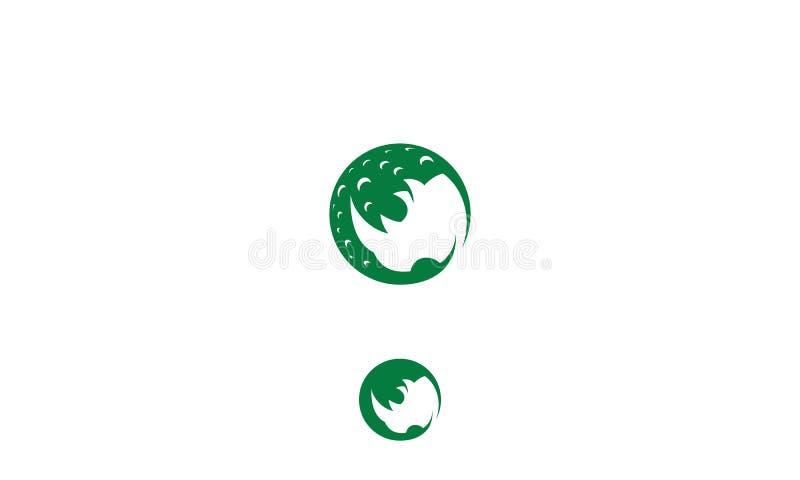 Maan en rinocerosembleem vectorpictogram stock illustratie