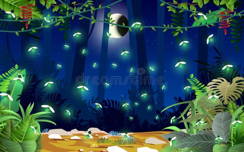 Maan en ster op de hemel stock illustratie