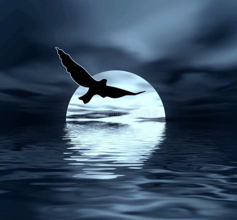 Maan en vogel stock illustratie
