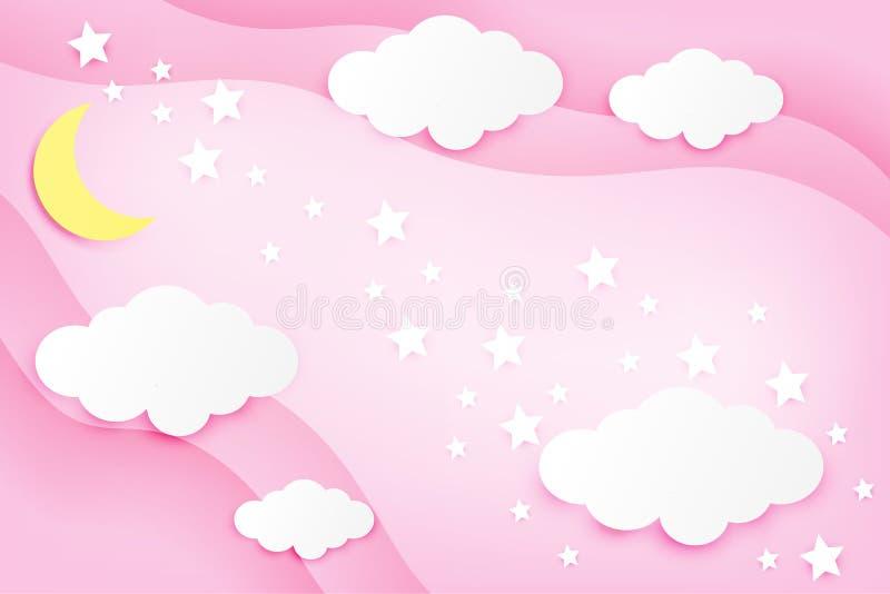 Maan en wolk op de roze vectorillustratie van de achtergronddocument kunststijl stock illustratie