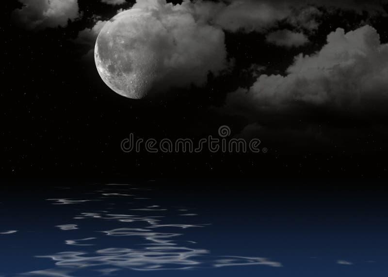 Maan en wolken in sterrige nachthemel vector illustratie