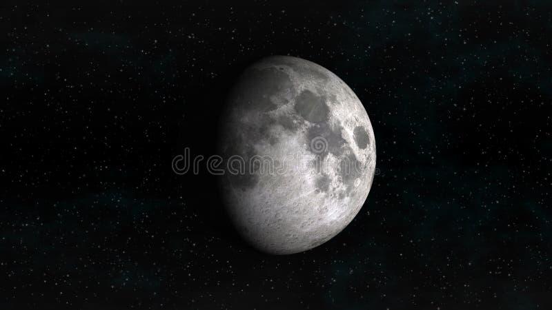 Maan in het in de was zetten gibbous fase op een achtergrond van sterren vector illustratie