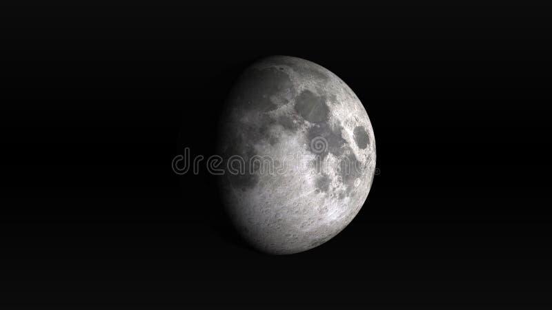 Maan in het in de was zetten gibbous fase op een zwarte achtergrond vector illustratie