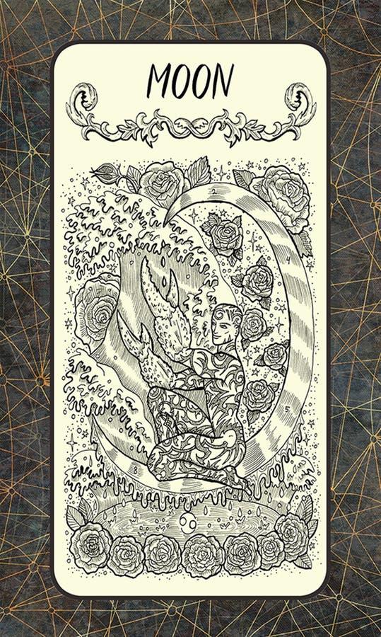 Maan Major Arcana Tarot Card royalty-vrije illustratie