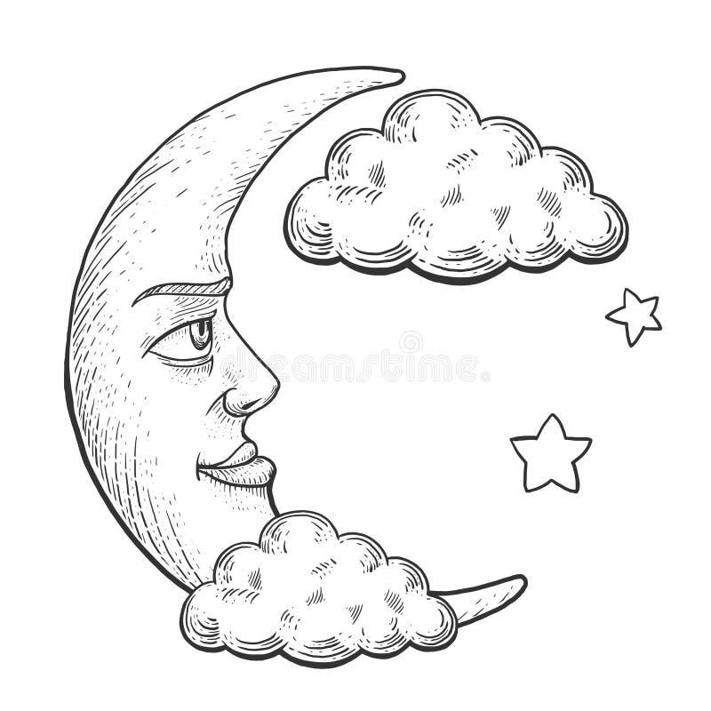 Maan met de stijl vectorillustratie van de gezichtsgravure stock illustratie