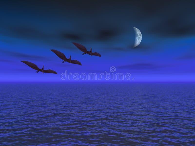 Maan met de Vlucht van de Pterodactylus over Overzees stock illustratie