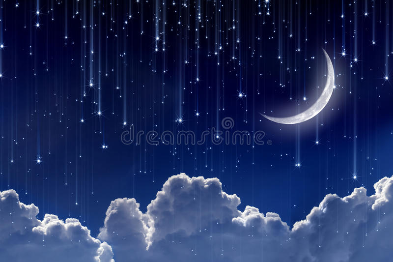 Maan in nachthemel stock illustratie
