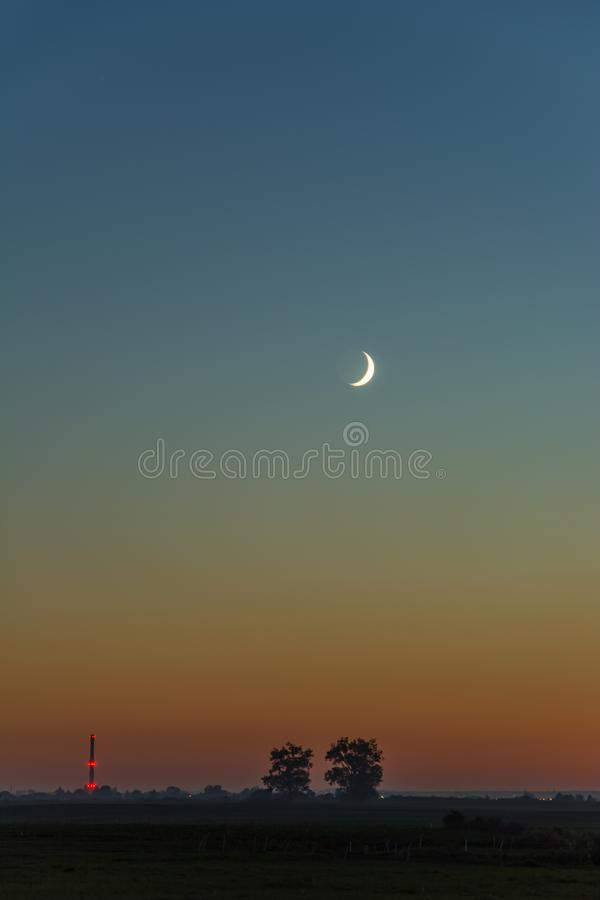 Maan op blauwe hemel en bomen op de horizon royalty-vrije stock foto's