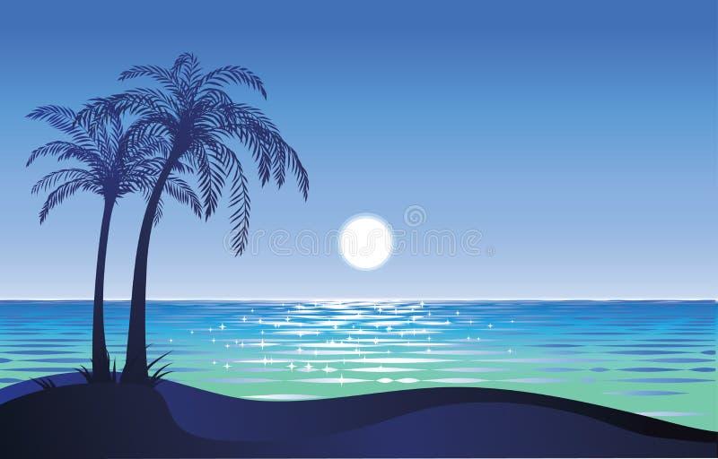 Maan op het strand vector illustratie