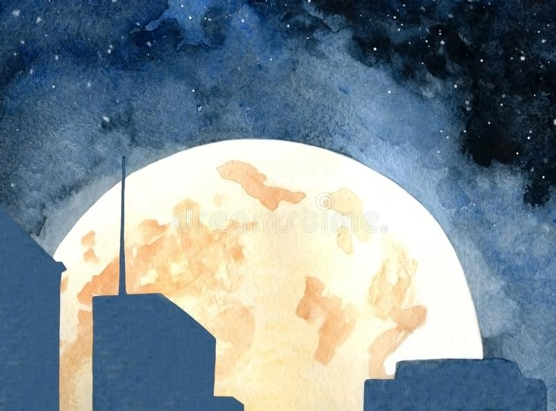 Maan over de Stad stock illustratie
