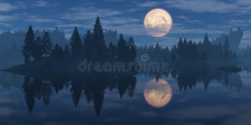 Maan over het bos royalty-vrije stock foto's