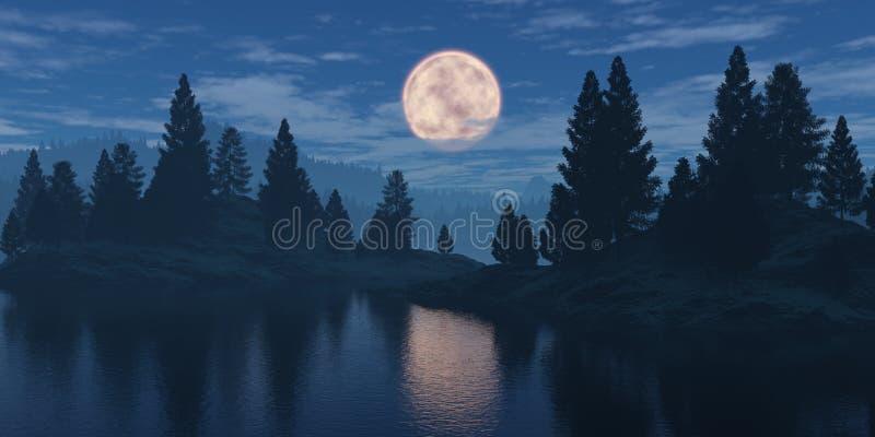 Maan over het bos royalty-vrije stock afbeelding