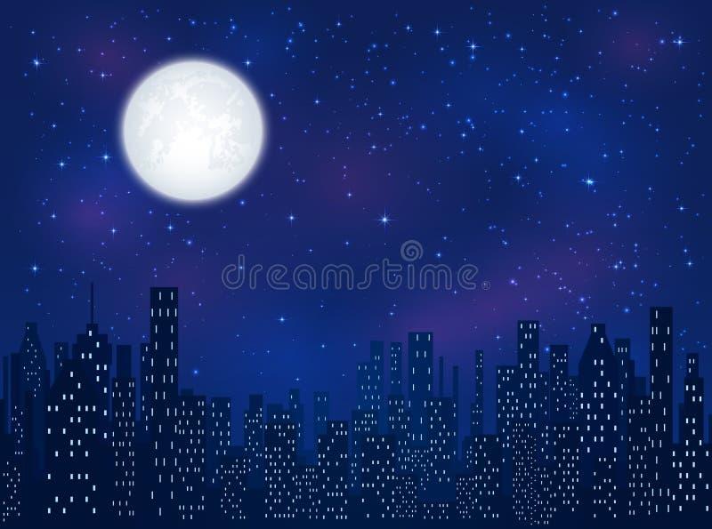 maan over nachtstad royalty-vrije illustratie