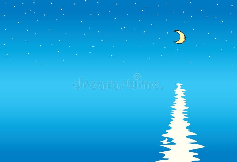 Maan over Overzees Vector tekening stock illustratie