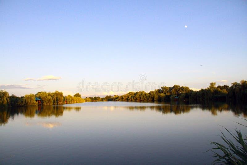 Maan over schilderachtige vijver in de avond stock foto's