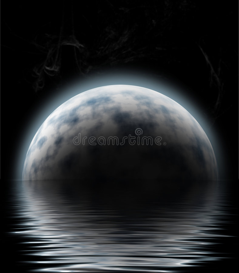 Maan over water stock illustratie