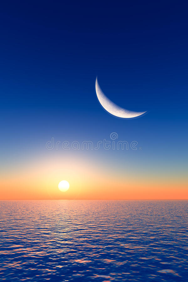 Maan over Zonsopgang royalty-vrije illustratie