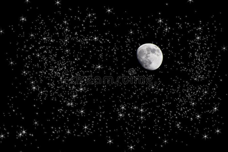 Maan in sterrige nachthemel stock afbeeldingen