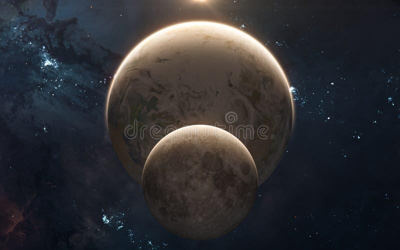 Maan voor Aarde in zonneschijn nadruk op: Het Knippen van MercuryWith van het Venus van de aarde Weg Science fiction royalty-vrije stock afbeeldingen