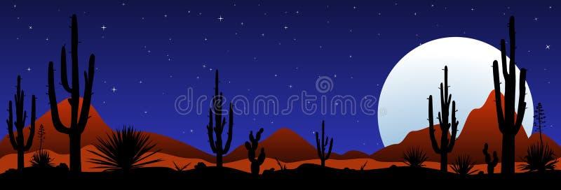 Maanbeschenen nacht in de Mexicaanse woestijn vector illustratie