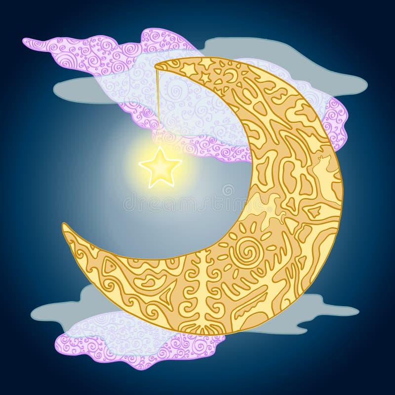 Maanbeschenen nacht met mythologisch ornament stock foto