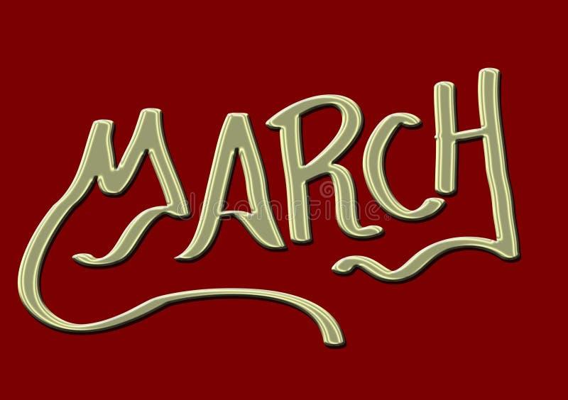 Maand van Maart-tekstachtergrond stock illustratie