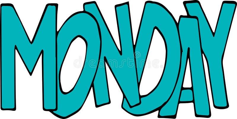 Maandag Banner, affiche en stickerconcept vector illustratie