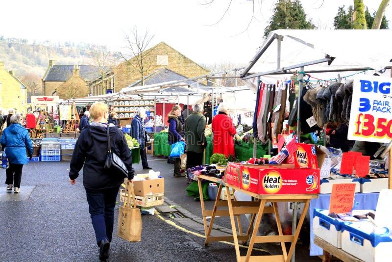 Maandagmarkt, Bakewell, Derbyshire. stock afbeelding