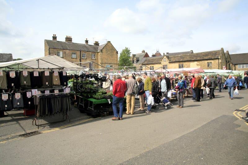 Maandagmarkt, Bakewell, Derbyshire. royalty-vrije stock afbeelding