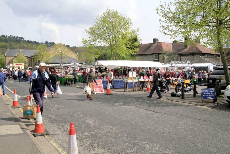 Maandagmarkt, Bakewell, Derbyshire. stock foto