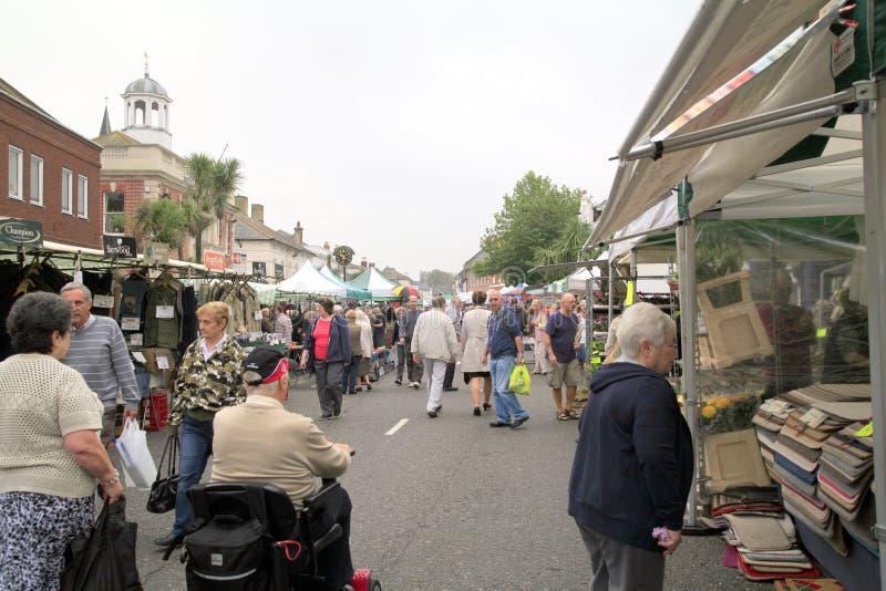Maandagmarkt, Christchurch, Dorset royalty-vrije stock afbeelding