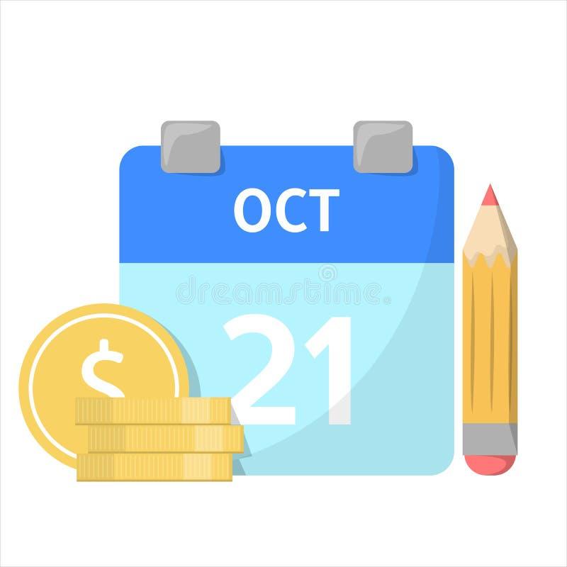 Maandelijkse begroting Kalender en de geldstapel royalty-vrije illustratie