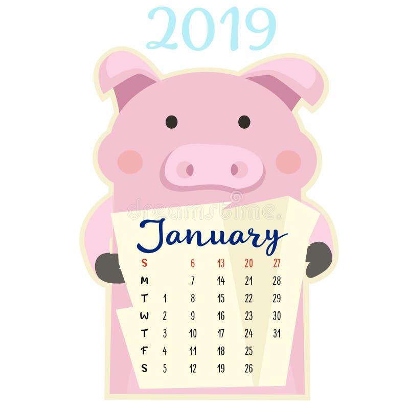 Maandelijkse creatieve kalender 2019 met leuk varken Concept, vector verticaal editable malplaatje Symbool van het jaar in vector illustratie