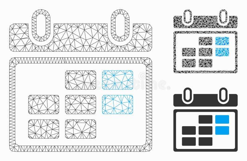 Maandkalender Vector het Mozaïekpictogram van Mesh Network Model en van de Driehoek stock illustratie