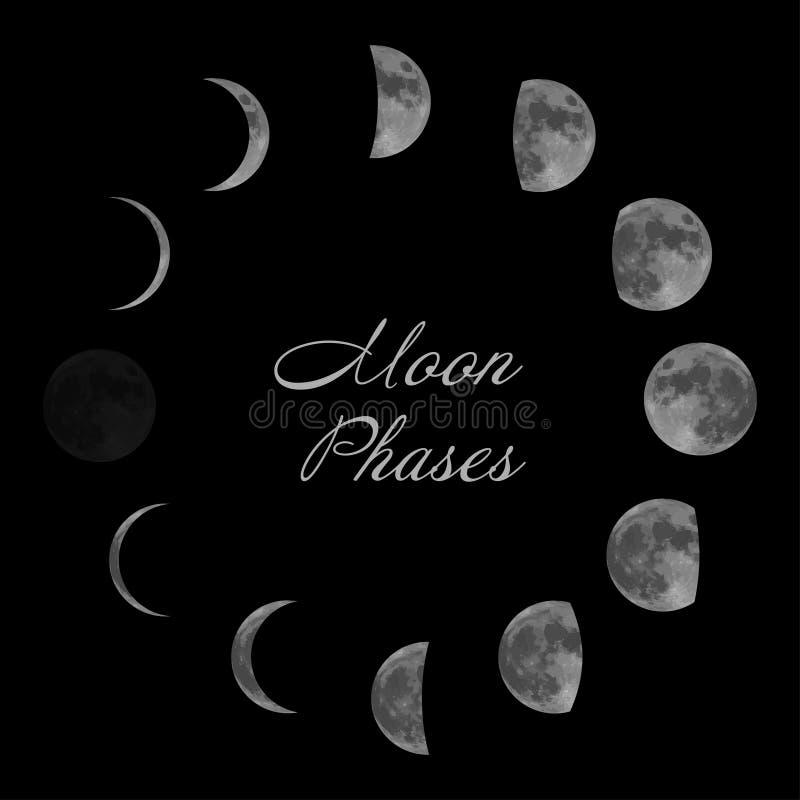 Maanfasen voor maankalender Geïsoleerde op zwarte achtergrond Vector royalty-vrije illustratie