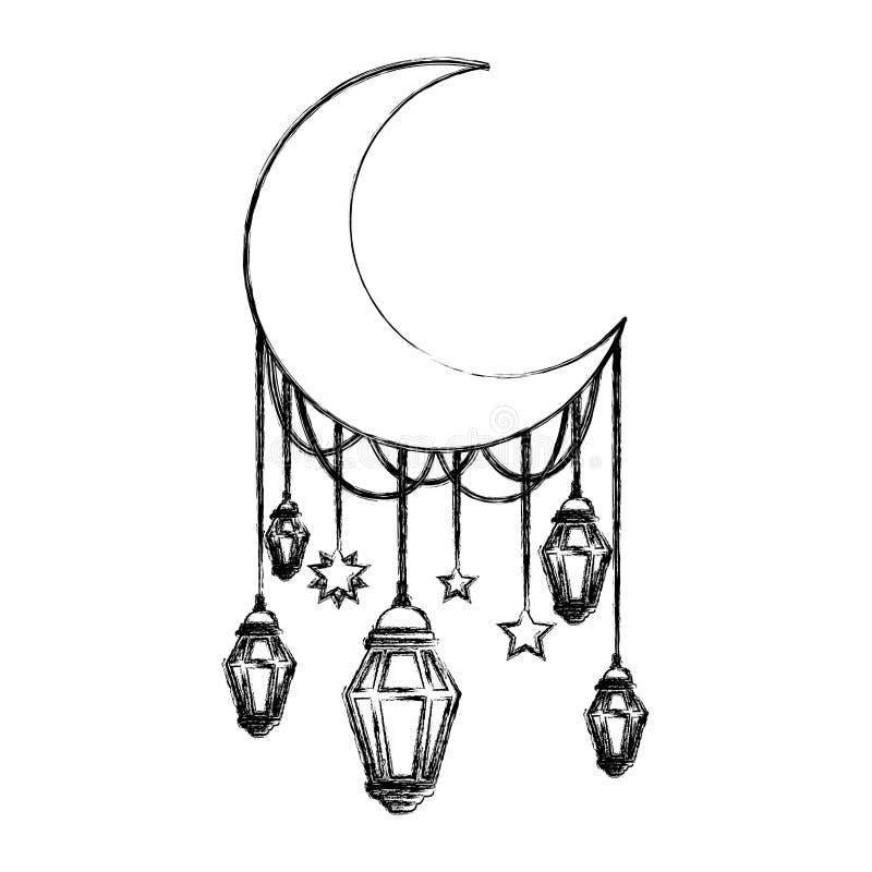Maanhalve maan met lampen het hangen stock illustratie
